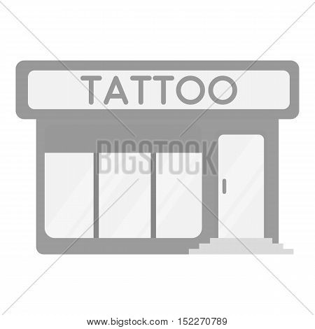 Tattoo salon building parlor icon monochrome. Single tattoo icon from the big studio monochrome.