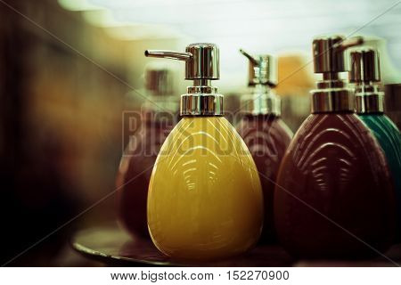 bottles for soap in the store