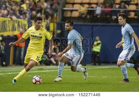 VILLARREAL, SPAIN - OCTOBER 16th: Rodrigo with ball during La Liga soccer match between Villarreal CF and R.C. Celta de Vigo at El Madrigal Stadium on October 16, 2016 in Villarreal, Spain