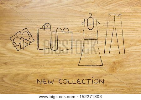 Fashion Choices: Dress & Jeans Illustration With Shopping Bags
