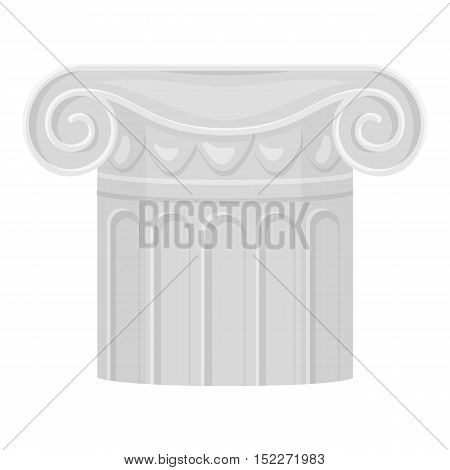 Column icon in monochrome style isolated on white background. Theater symbol vector illustration