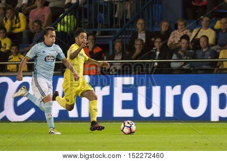 VILLARREAL, SPAIN - OCTOBER 16th: (L) Orellana adn Costa during La Liga soccer match between Villarreal CF and R.C. Celta de Vigo at El Madrigal Stadium on October 16, 2016 in Villarreal, Spain