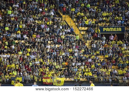 VILLARREAL, SPAIN - OCTOBER 16th: Villarreal supporters during La Liga soccer match between Villarreal CF and R.C. Celta de Vigo at El Madrigal Stadium on October 16, 2016 in Villarreal, Spain
