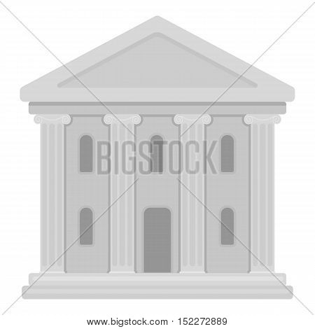 Theatre building icon in monochrome style isolated on white background. Theater symbol vector illustration