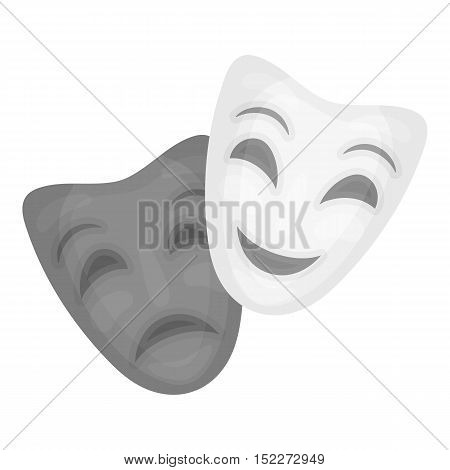 Theater masks icon in monochrome style isolated on white background. Theater symbol vector illustration