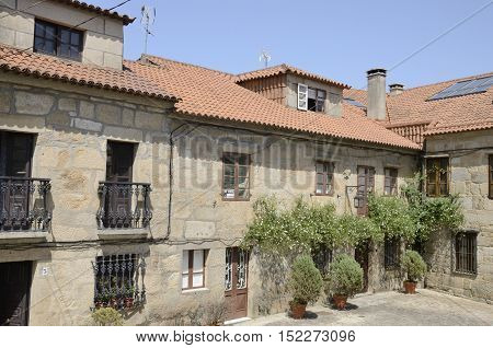 CAMBADOS, SPAIN - AUGUST 8, 2016: Traditional stone houses in Cambados a town of the province of Pontevedra in Galicia Spain.