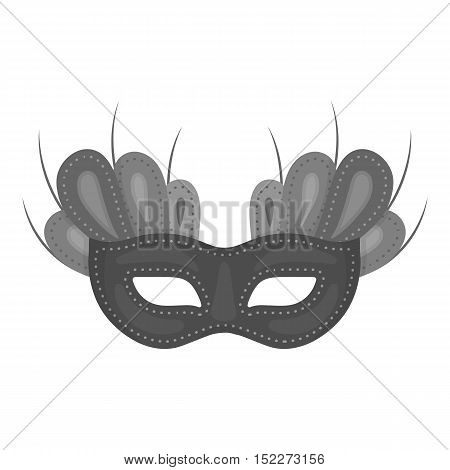 Mask icon in monochrome style isolated on white background. Theater symbol vector illustration