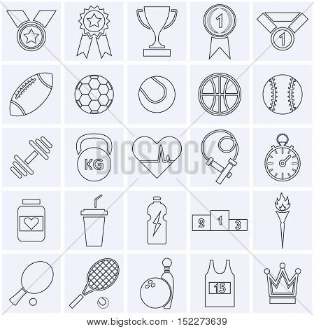 Line sports icon collection. Vector illustration eps10