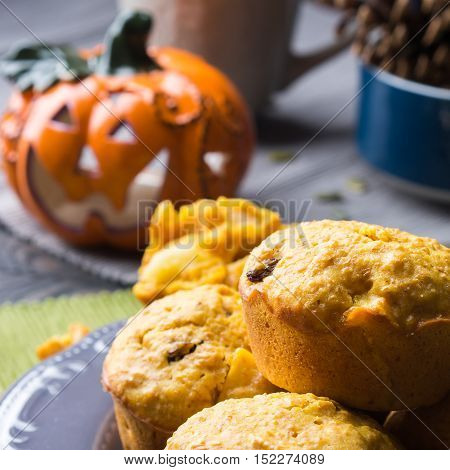 Pumpkin whole grain muffins with raisins and pumpkin seeds on dark background with a halloween decorative squash. Square image
