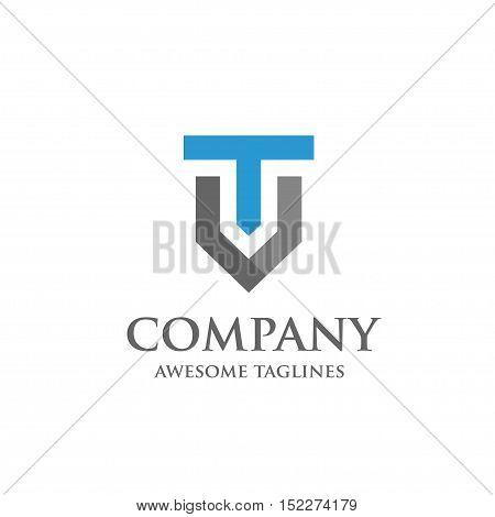 Creative Letter T and V logo. Elegant alphabet V and T letter logo. Vector illustration