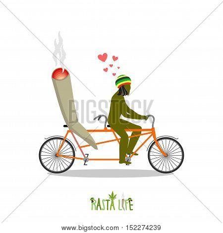 Rasta Life. Rastafarian And Joint Or Spliff On Bicycle. Man And Smoking Drug On Tandem. Marijuana Lo