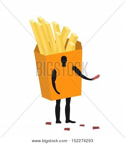 French Fries Costume Man Mascot Promoter. Male In Suit Potato Distributes Flyers. Puppets Food Engag