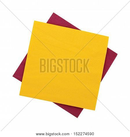 Stack of colorful dish napkins isolated on white. Multi-colored paper napkins for restaurant. Flat mock up for design. Top view