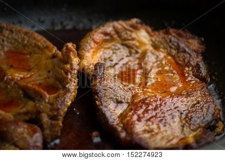 A close up of freshly prepared Steaks
