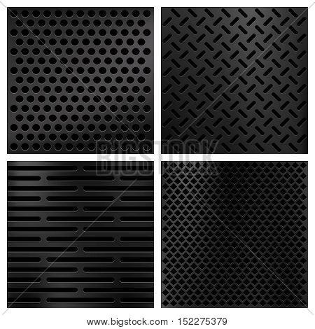 Kevlar fiber carbon vector textures set. Background pattern material illustration