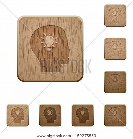 Set of carved wooden idea in 8 variations.
