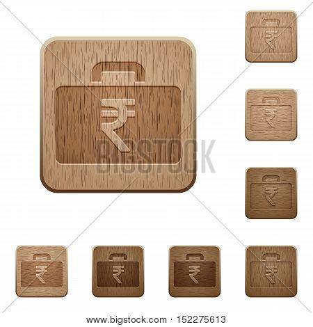 Set of carved wooden indian Rupee bag in 8 variations.