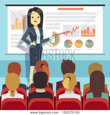 Business conference, seminar with speaker in front of audience. Business motivation vector concept. Businesswoman presentation lecture illustration