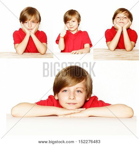 collage set cute blond boy in the red shirt over a white background