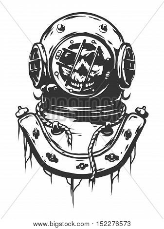Old diving helmet. Dead diver. Monochrome vector illustration.