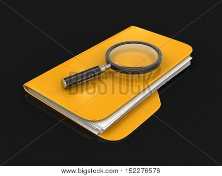 3D Illustration. 3D Folders with Magnifying Glass. Image with clipping path