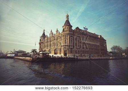 Istanbul Turkey - April 15 2015 : Famous and historical Haydarpasa train station. Symbol landmark of Istanbul.