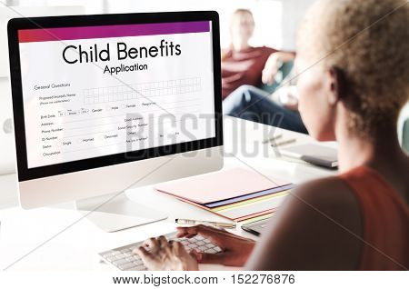 Child Benefits Application Form Concept