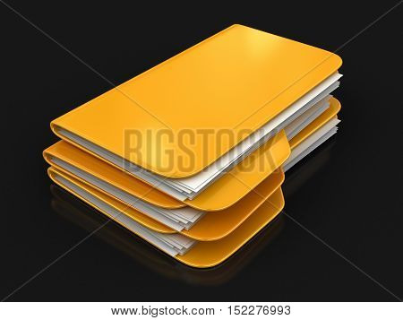 3D Illustration. Folder and files. Image with clipping path