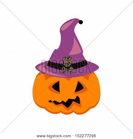 Halloween pumpkin in witch hat vector. Orange pumpkin with scary face and purple cap.