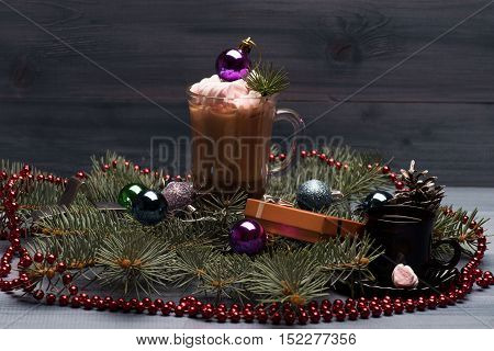 Cacao Or Chocolate With Marshmallows And Chrismas Decoration