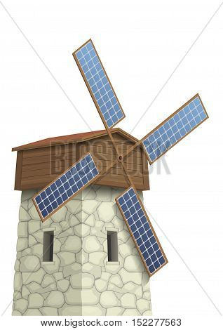 Windmill with wings of solar panels. Vector graphics