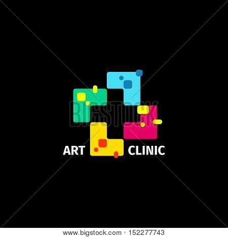 Isolated abstract colorful cross logo. Medical logotype. Hospital, ambulance, clinic icon. Geometric shape mosaic tile. Religious sign. Arithmetic plus symbol. Vector cross illustration