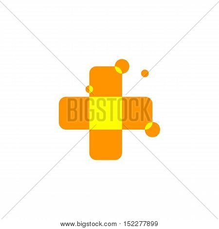Isolated abstract orange color cross logo. Medical logotype. Hospital, ambulance, clinic icon. Geometric shape mosaic tile. Religious sign. Arithmetic plus symbol. Vector cross illustration