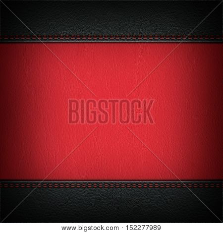 Texture of combined grey and red leather backgrounds with stitched seam, close-up. Texture for design.
