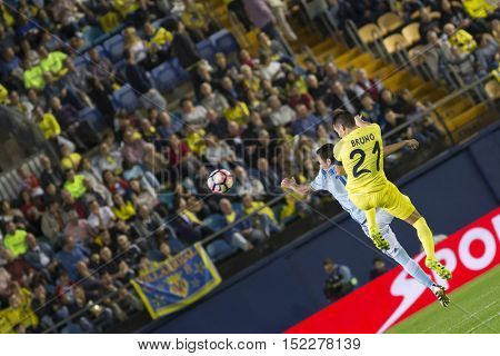 VILLARREAL, SPAIN - OCTOBER 16th: 21 Bruno during La Liga soccer match between Villarreal CF and R.C. Celta de Vigo at El Madrigal Stadium on October 16, 2016 in Villarreal, Spain