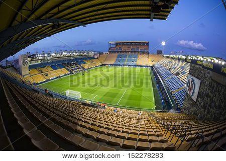 VILLARREAL, SPAIN - OCTOBER 16th: El Madrigal Stadium during La Liga soccer match between Villarreal CF and RC Celta de Vigo on October 16, 2016 in Villarreal, Spain