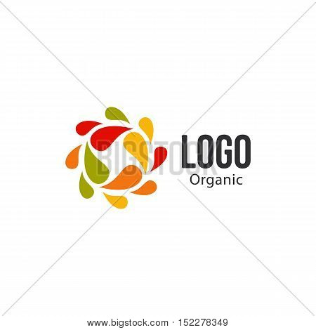 Isolated abstract colorful drops circle logo. Liquid circulation logotype. Kids art school icon, Round shape spining paint sign. Natural process of renewal symbol. Vector drops illustration
