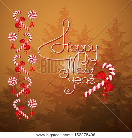 Christmas Candy Cane and lollipop with red bow on orange background with trees and handwritten words. Happy New Year and merry celebrations vector illustration.