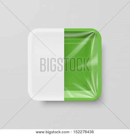 Empty Green Plastic Food Square Container with White label on Gray Background