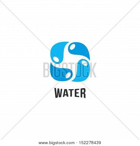Isolated abstract blue water drops circle logo. Liquid circulation logotype. Fresh drink splash icon