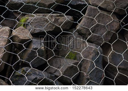 gabion wall from steel mesh with stones