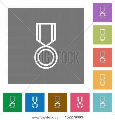 Medal flat icon set on color square background.