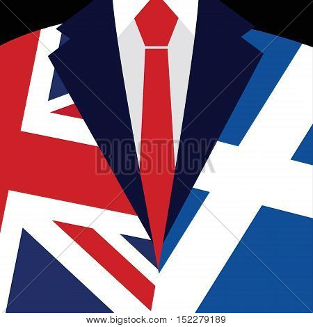Brexit concept. British flag. Scottish flag. Scottish referendum. Symbol of imminent exit of Scotland out of the Great Britain. Vector illustration background.