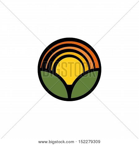 Isolated cartoon nature landscape with meadow logo. Summer sunset, sunrise, countryside panorama. Round shape natural environment logotype. Green color leaves and bright flower petals icon
