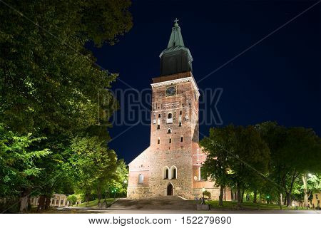 Medieval Lutheran Cathedral (built in the second half of the XIII century) Turku on the august night. Finland