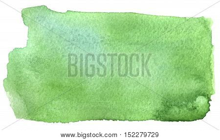 watercolor sketch of green blotch on white background