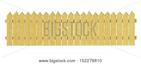 Front garden fencing border decorative wooden isolated on white 3d illustration.