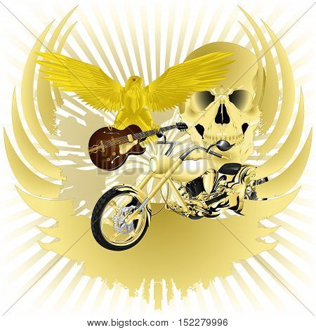 Rock n roll vector illustration background and golden chopper