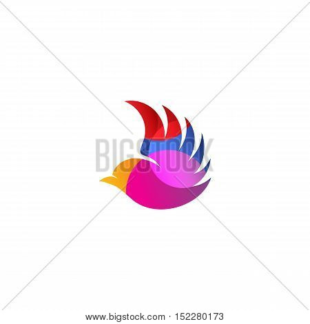 Isolated pink color flying bird side view vector logo. Animal logotype. Wings contour icon. Pigeon silhouette. illustration. Air symbol