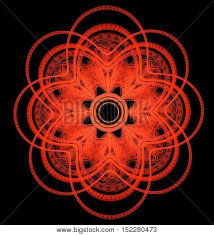 Abstract symmetrical ornamental pattern of red the eight-pointed cross on black bacground